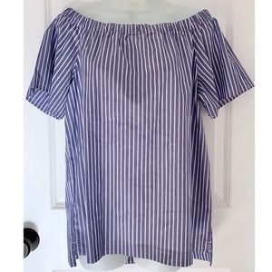 Banana Republic Blue Striped Off The Shoulder Top